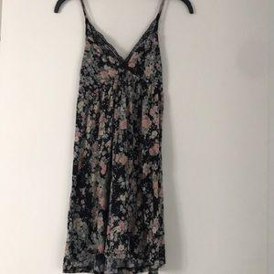 Flower print sun dress with black lace detail